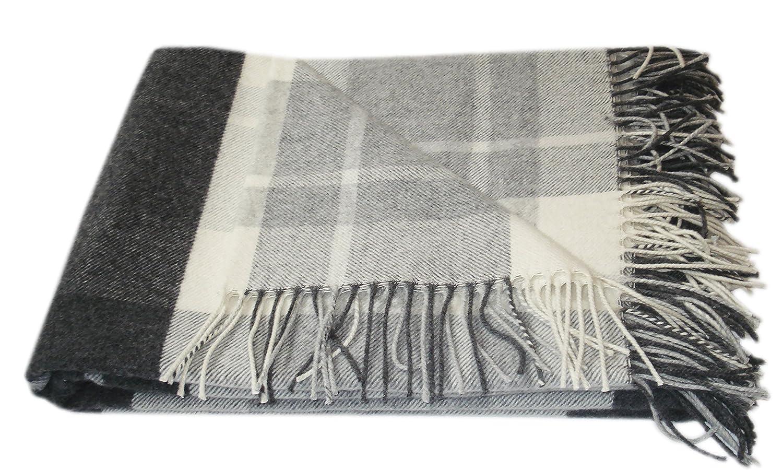 Kaschmir Merino Wolldecke - 100% reine Wolle 140 x 200cm Plaid Blanket Sofadecke Decke (Weiß   Dunkelgrau   Grau) Öko-Tex 100 Standard