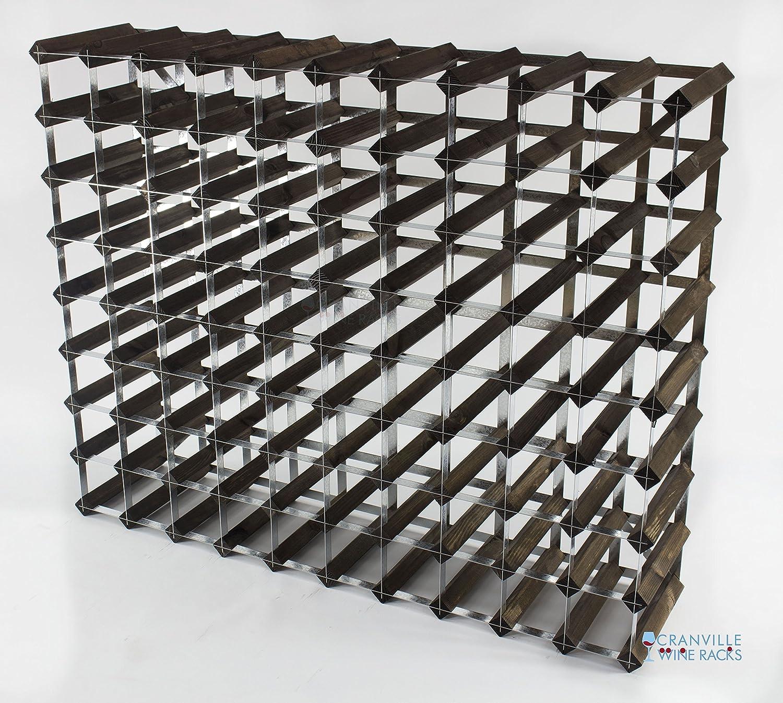 Bois classique 90 bouteille chêne teinté foncé et galvanisé lauto-assemblage de support de vin en métal Cranville wine racks