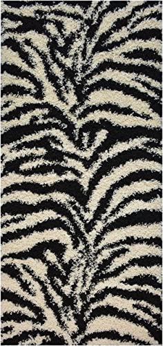 Shaggy Collection Black Off-White Zebra Design Contemporary Modern Shag Area Rug 4203 3'3″x7'