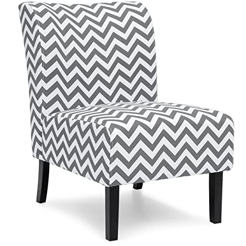 Best Choice Products Modern Contemporary Upholstered Armless Accent Chair – Gray White