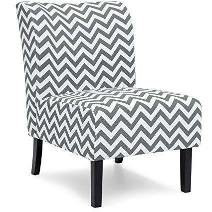 Best Choice Products Modern Contemporary Upholstered Armless Accent Chair    Gray/White