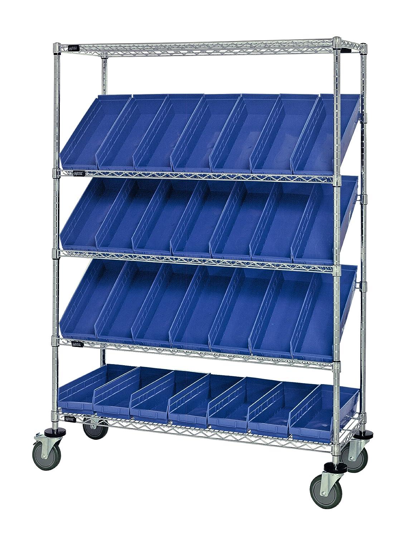 "B008I89FNO Quantum Storage Systems WRCSL5-63-2448-106BL 5-Tier Slanted Wire Shelving Suture Cart with 28 QSB106 Blue Economy Shelf Bins, 2 Horizontal and 3 Slanted Shelves, Chrome Finish, 24"" Width x 48"" Length x 69"" Height 917cQyJzZyL._SL1500_"
