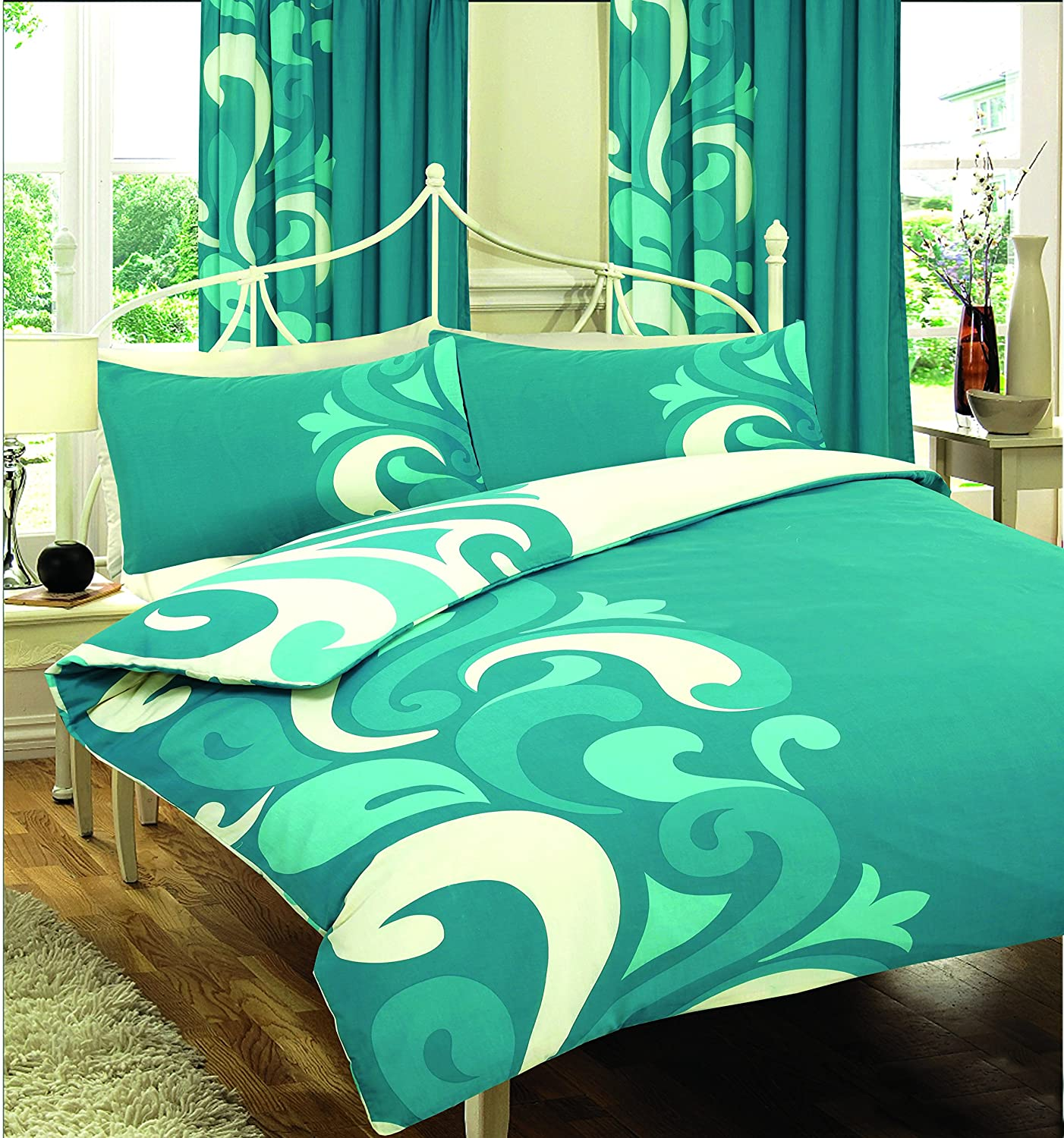 Grandeur Printed Duvet Set Or With Fitted Sheet Or Full Set Or Curtains