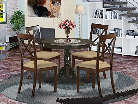 Amazon Com East West Furniture Anbo5 Cap C Wooden Dining Table Set 4 Amazing Room Chairs A Wonderful Mid Century Linen Fabric Seat And Cappuccino Finish Modern Decor