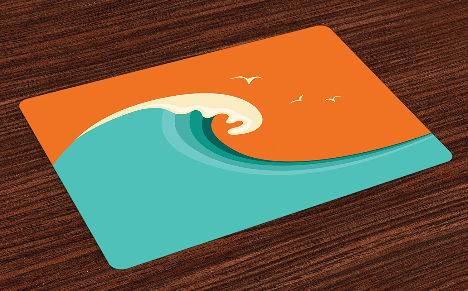 Lunarable Surf Place Mats Set of 4, Giant Wave with Seagull Silhouettes on a Warm Colored Background Cartoon, Washable Fabric Placemats for Dining Room Kitchen Table Decor, Orange Cream Turquoise
