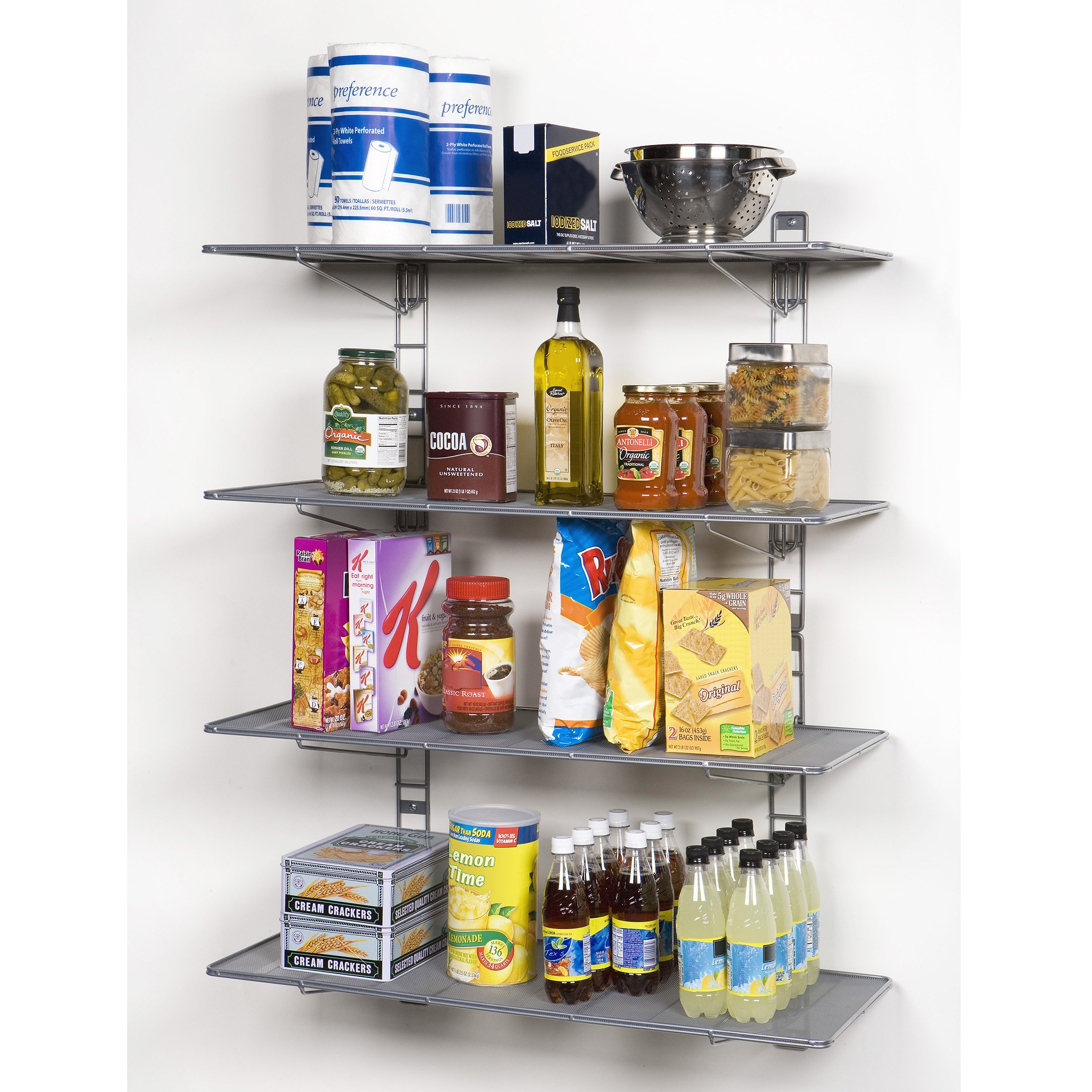 Seville Classics 2-Tier Iron Mesh Adjustable Floating Wall Shelves, 36'' x 14'', Satin Pewter by Seville Classics (Image #4)