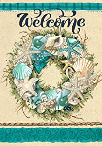 Summer Shell Coastal Wreath Garden Flag 12 x 18 Double Sided Retro Starfish Coral Nautical House Yard Flags Welcome Hello Summer Outdoor Indoor Banner for Party Home Decorations