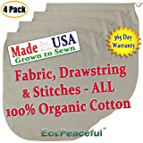 (4 pack) USA Organic Cotton Nut Milk Bag. Truly 100% Organic (Read our Fake Organic Warning). Sewn w/Organic Cotton Threads. (4, 12x12)