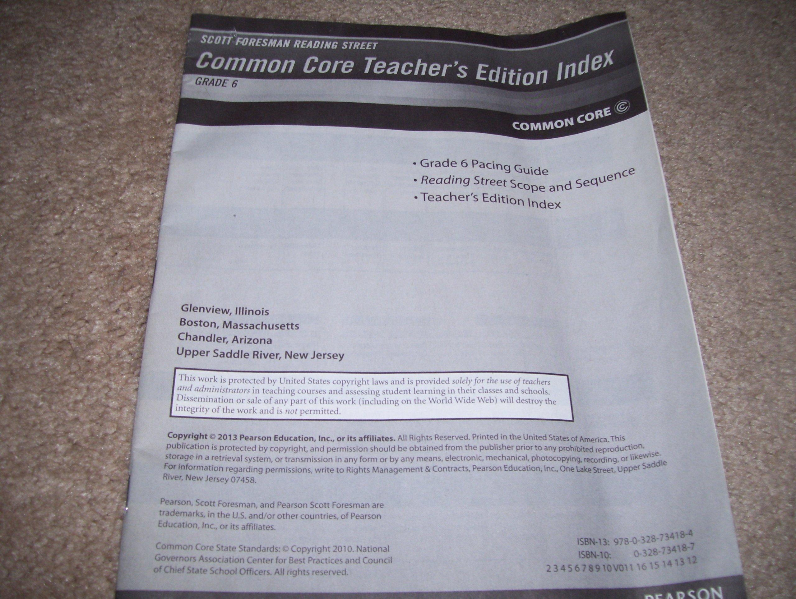 Amazon.com: Common Core Teacher's Edition Index Grade 6 (9780328734184):  Staff: Books