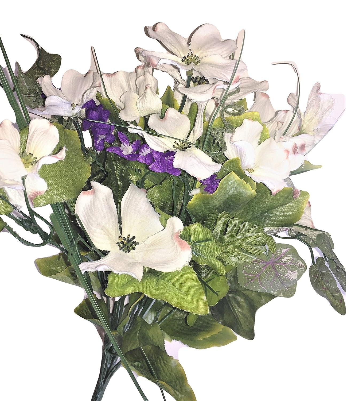 Amazon beauty blooms purple white silk dogwood purple amazon beauty blooms purple white silk dogwood purple flowering vine accent 18 tall floral arrangements vase urn memorial tribute table top izmirmasajfo
