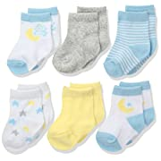 Rene Rofe Baby Baby Newborn and Infant 6 Pack Socks, Moon, 0-9 Months