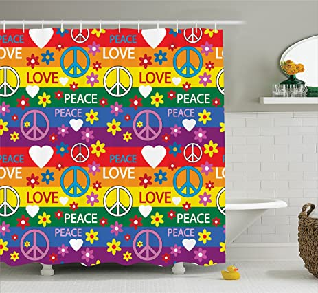 Inspirational Shower Curtain Hippie Decor By Ambesonne, Heart Peace Sign  Flower Power Political Rainbow Colors