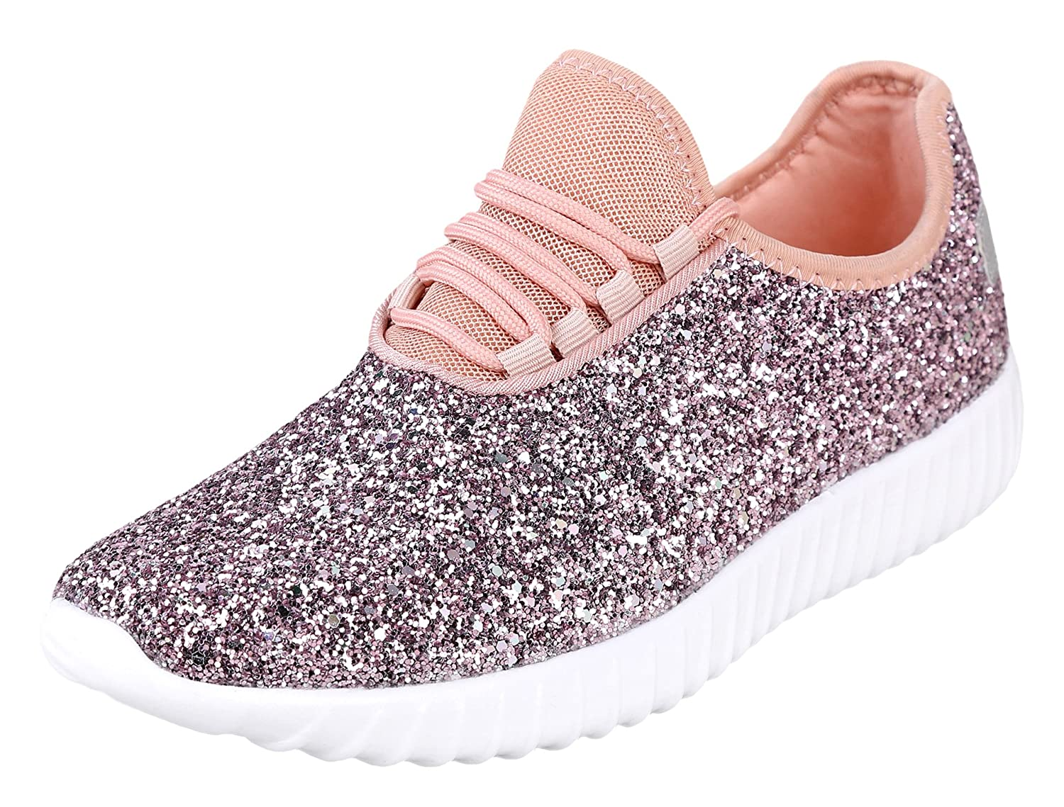 Foxy Grey Allison Womens Sneakers | Glitter Shoes for Women | Fashion Sneakers | Sparkly Shoes for Women | Casual Shoes B07BYG4PGS 6.5 B(M) US|Pink