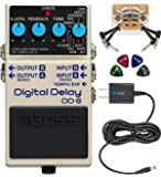 BOSS DD-8 Digital Delay Guitar Effects Pedal Bundle with Blucoil Slim 9V Power Supply AC Adapter, 2-Pack of Pedal Patch…