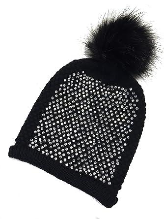 Love Lola Womens Bobble Hats Fur Pom Pom Diamante Designer Inspired Beanie  Hat (Black)  Amazon.co.uk  Clothing 1a428c81038