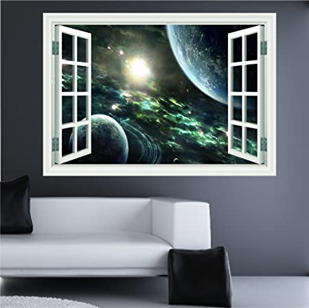 Huge 3d space window wall art sticker decal