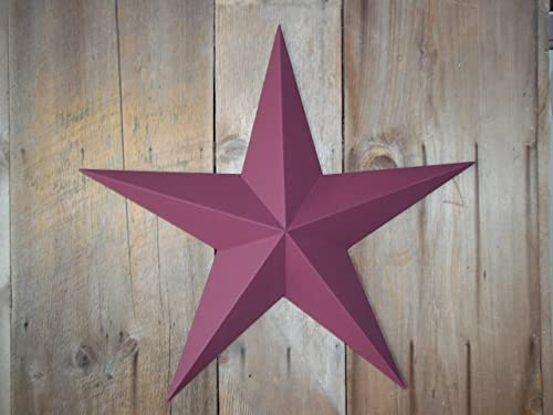 Heavy Duty Metal Star 24 Painted Solid Burgundy. These Metal Stars Are a Great Addition to Your Home Decor. You Will Not Be Disappointed with the Quality and Workmanship on These Barn Stars. They Are Handcrafted Out of 22 Gauge Galvanized Steel and Will Not Rust. Add a Barnstar to Your Home Decor Today.