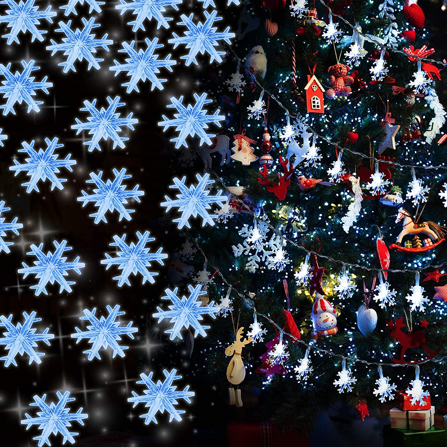 8 Modes Christmas String Lights 10 Feet 30 LED Christmas Snowflake Fairy Lights Battery Operated Waterproof Lights for Home Garden Patio Bedroom Christmas Outdoor Indoor Decorations (Blue)