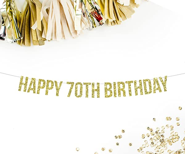Happy 70th Birthday Gold Glitter Party Banner