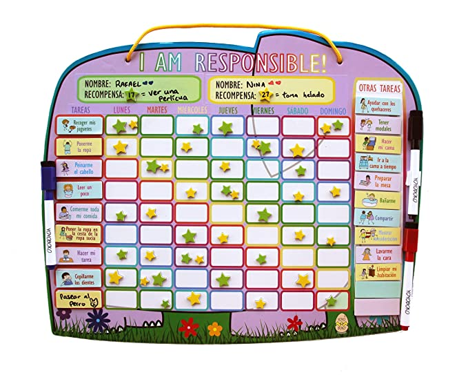 Yoyoboko Original Ele-Fun Star Chart (Spanish) | Magnetic Chore Chart for Kids, Behavior Chart for Multiple Kids + 3 Markers + Storage Bag | 16.3 x ...