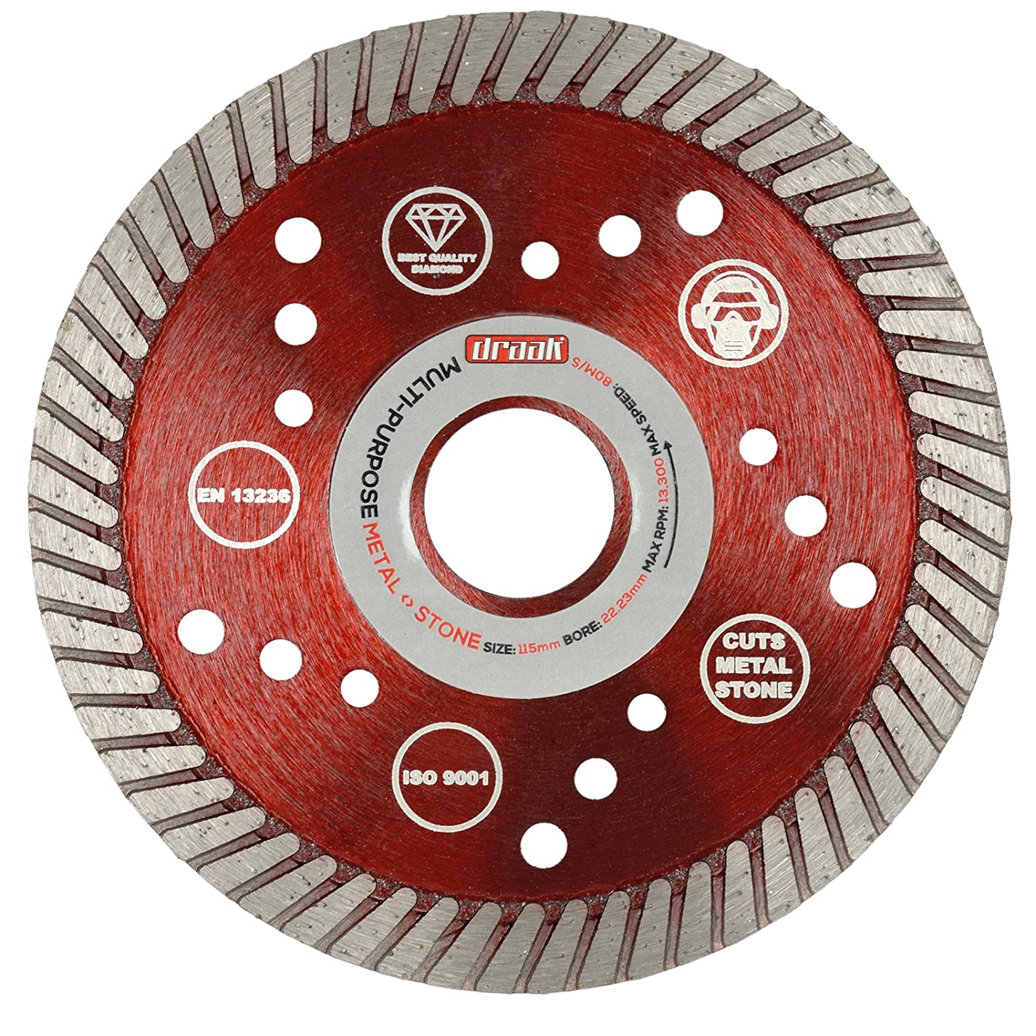 Diamond Cutting Disc 115mm 4.5' Angle Grinder Stone, Concrete, Metal & Steel DRAAK