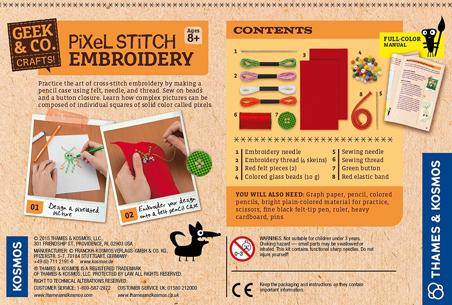 Geek Co Craft Pixel Stitch Embroidery Kit Toys Games Electronics Learning Circuits Thames Kosmos Timberdoodle