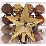 WeRChristmas - Set di decorazioni natalizie, 42 pezzi tra cui palline, punta per albero di Natale e ghirlanda marrone / cioccolato / caffè / champagne