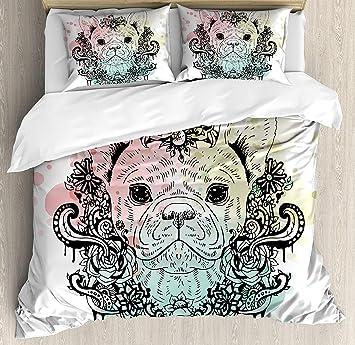 Animal Bettbezug Set Französische Bulldogge Mit Blumenkranz Auf