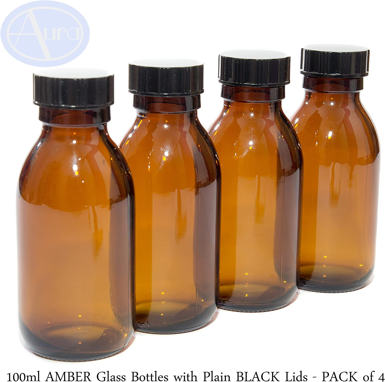PACK of 4 - 100ml AMBER GLASS Bottles with BLACK Lids.