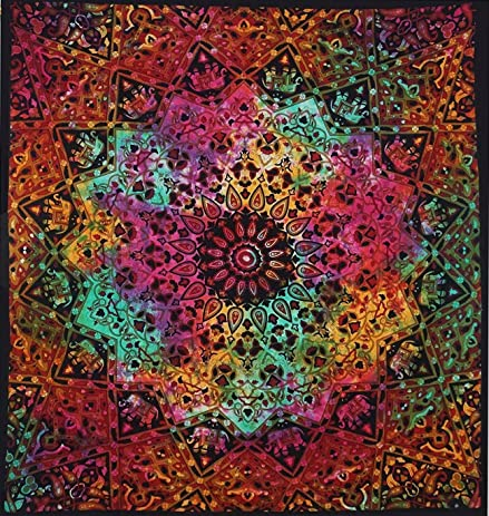 Tie Dye Hippie Star Elephant Tapestry Bohemian Elephant Mandala Tapestry  Wall Hanging Dorm Decor Psychedelic Hippie