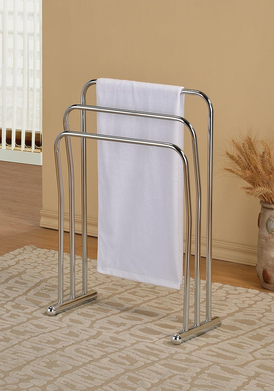 Chrome Finish Towel Rack Bathroom Stand Shelf Three Bars