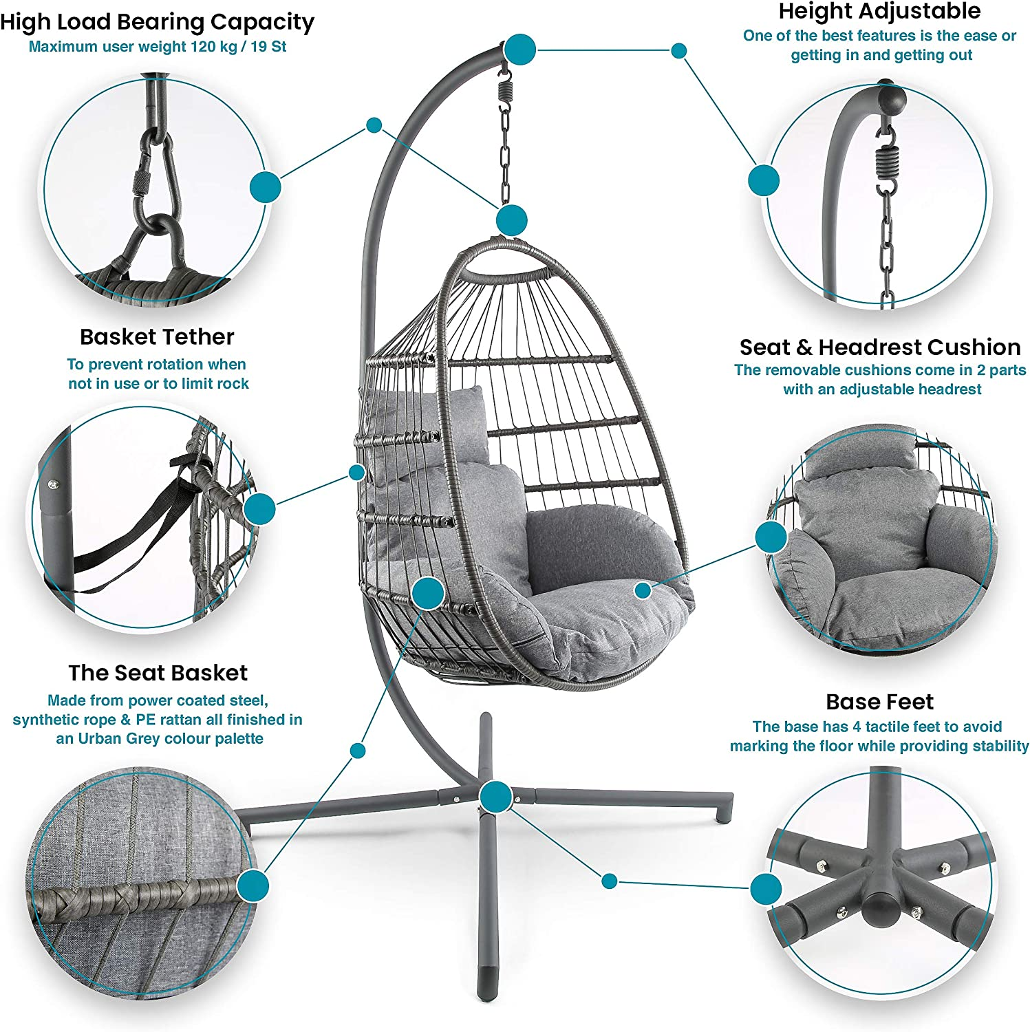 Divine Style Premium Collapsible Easy Storage Rattan Urban Grey Rope /& Steel Hanging Egg Chair Swing with Stand for Garden or Indoor