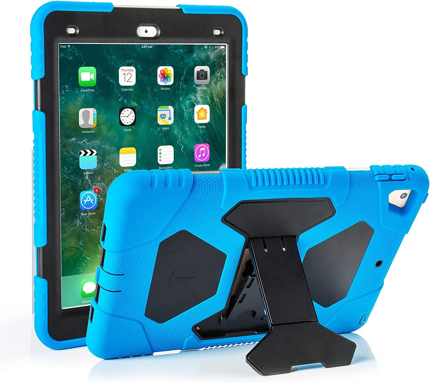 ACEGUARDER iPad 2017/2018 iPad 9.7 inch Case, Shockproof Impact Resistant Protective Case Cover Full Body Rugged for Kids with Kickstand for ipad 5 th/ipad 6 th Generation, Blue Black