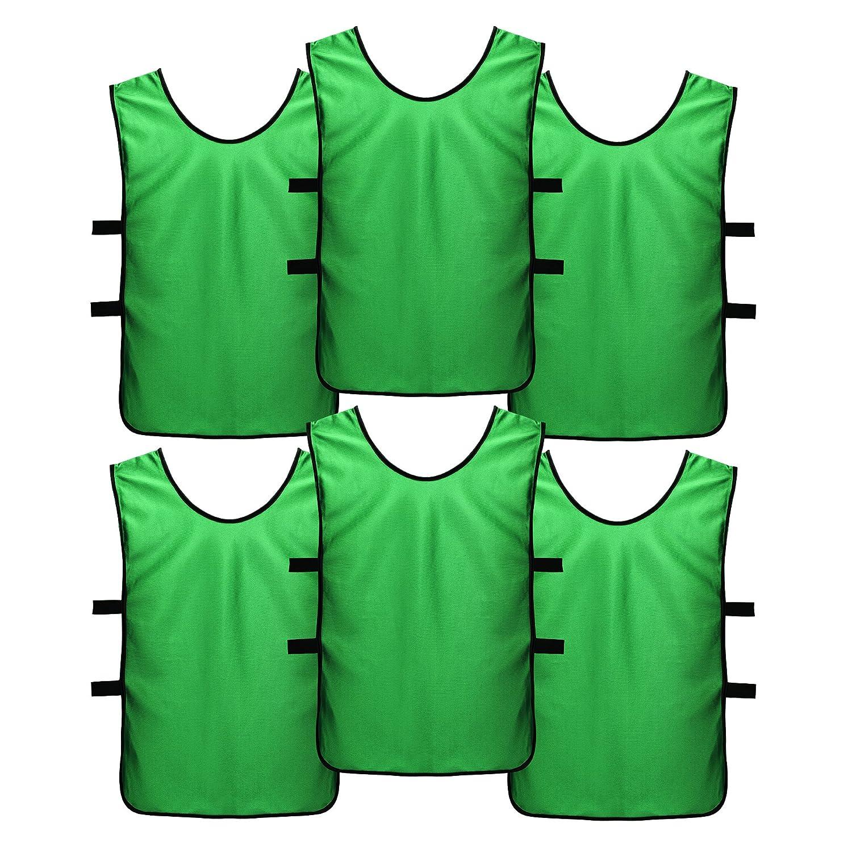 スポーツジャージーエプロンドレスキッズ、子供用、大人として(6パック) – Perfectバスケットボール練習ジャージー、Football JerseyまたはPennies for Soccer B07BVDKQX7 M (Youth age 6-11)|Green (6) Green (6) M (Youth age 6-11)
