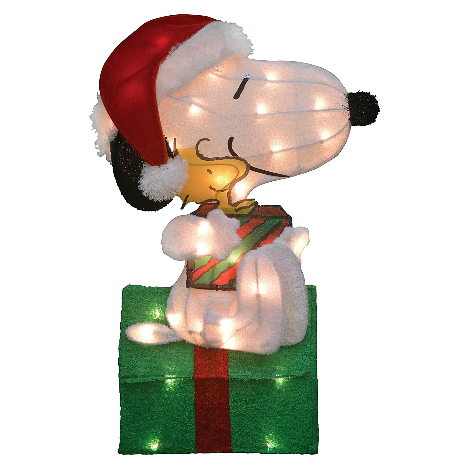 Snoopy outdoor christmas decorations - Amazon Com Christmas Peanuts Snoopy And Woodstock Pre Lit Yard Art 24 Tall Everything Else