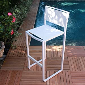 PURE Collection Set of 4 Stacking Patio and Garden Barstools in Elegant White Sling Design