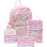 6 Pc. Pink Unicorn Girls Backpack Set, 16 inch, w/Washable Cloth Unicorn Kids Face Mask, Lunch Bag, & Pencil Case