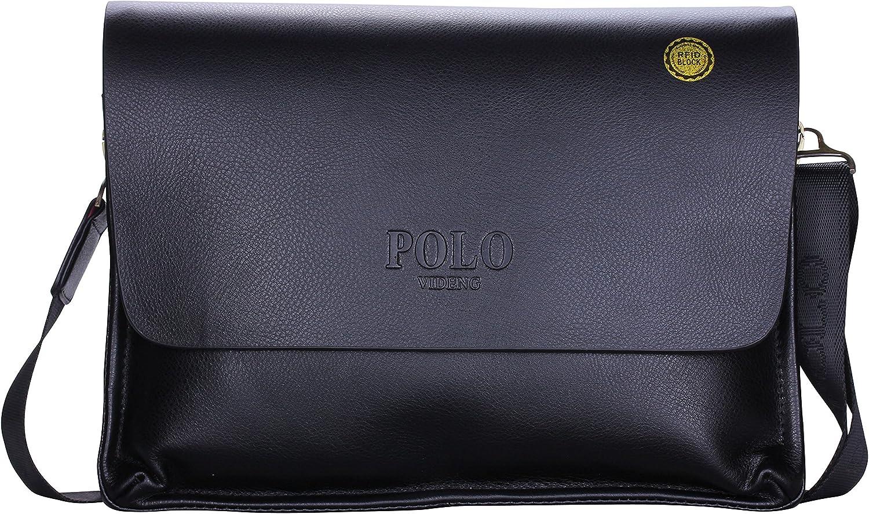 VIDENG POLO de hombre piel auténtica RFID bloqueo maletín hombro ...