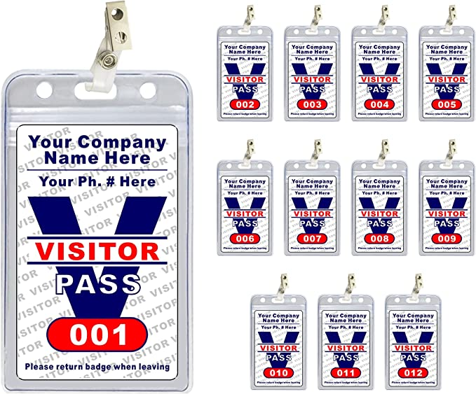 6 OFFICE CONFERENCE ID NAME BADGE HOLDER VISITOR PASS COMBI CLIP PIN 90x55mm