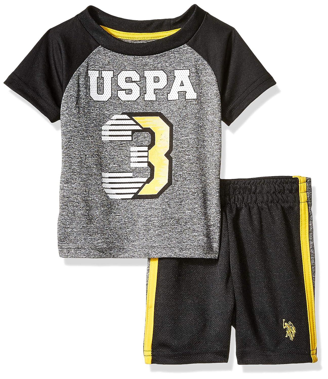 Baby Boys 2 Piece Sleeve Athletic T-Shirt and Short Set Polo Assn U.S