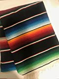 Large Authentic Mexican Blanket Colorful Serape Blanket 7' X 5' (Pick Your Color) (Blue)