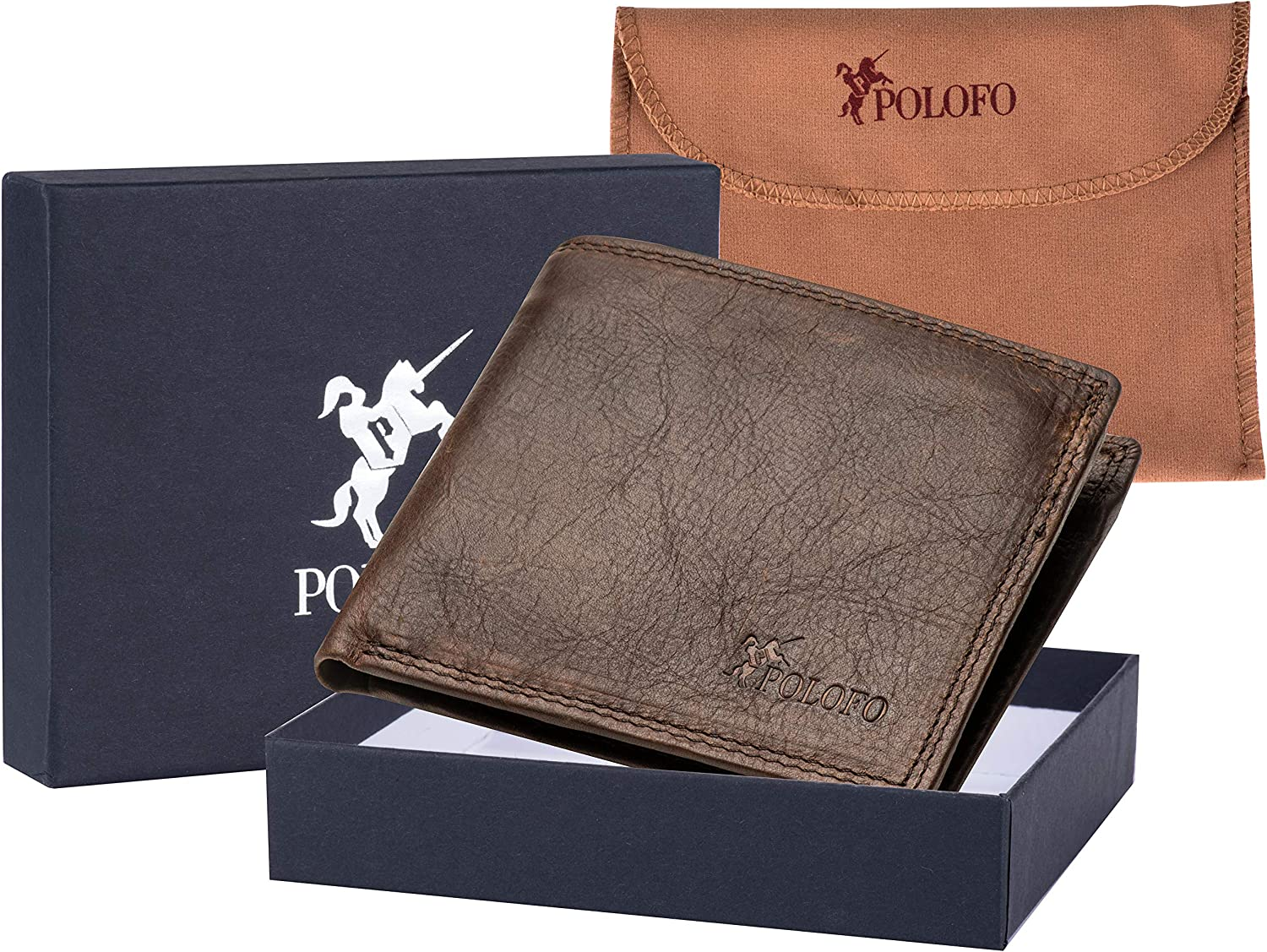 Coffee RFID Blocking Genuine Leather Bifold Wallet for Men with Zipper and Coin Pocket