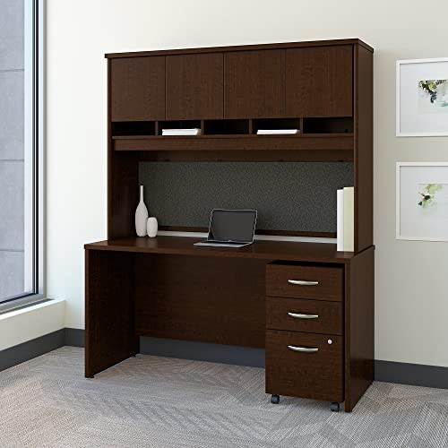 Bush Business Furniture Series C 60W x 24D Office Desk with Hutch and Mobile File Cabinet in Mocha Cherry