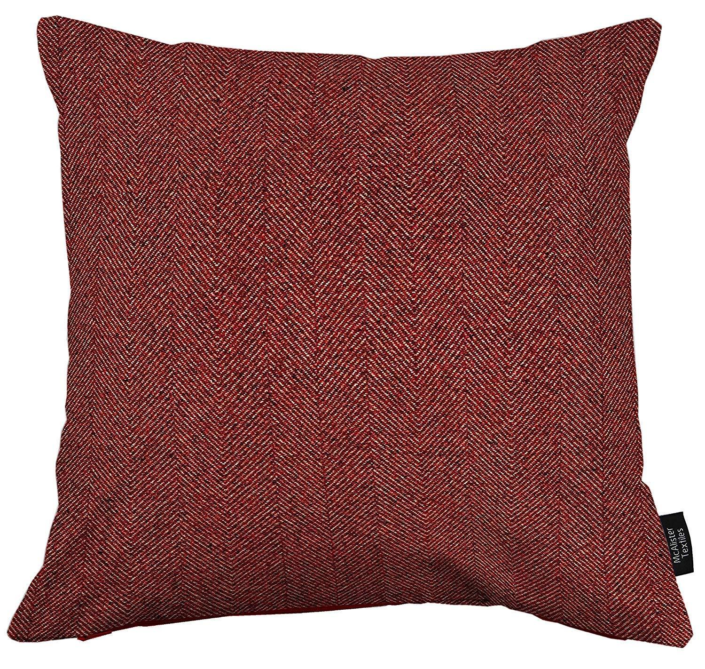 McAlister Textiles Signature Kollektion   Herringbone extragroßes Zierkissen im Fischgräten-Muster Tweed mit Füllung   60cm x 60cm in Rot   Deko Kissen für Sofa, Bett, Couch B01GE9DKYI Zierkissen