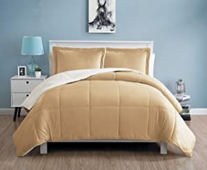 VCNY Home Micro Mink Reversible 3-Piece Warm Sherpa Comforter Set, King, Camel