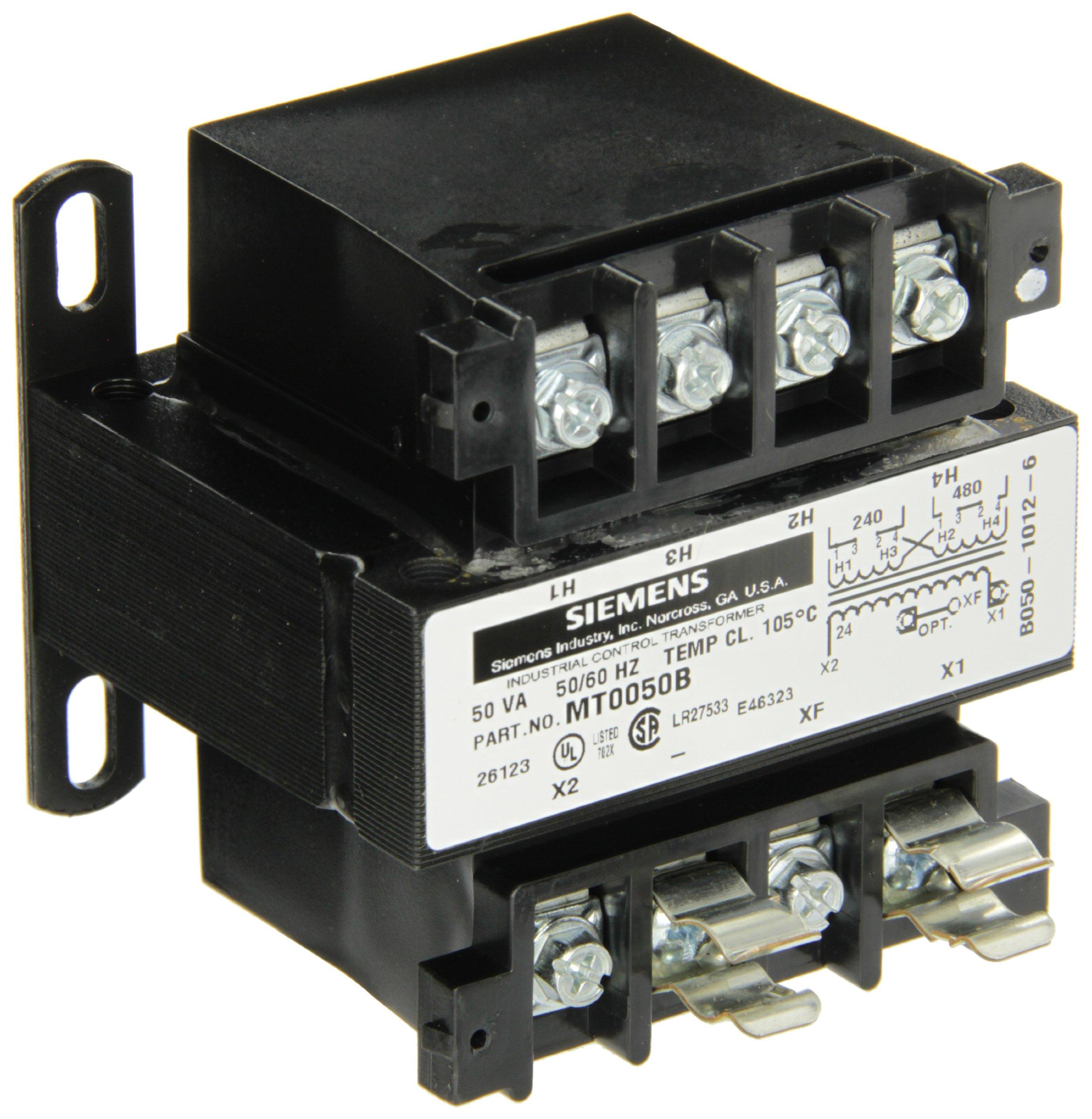 Siemens MT0050B Industrial Power Transformer, Domestic, 240 X 480 Primary Volts 50/60Hz, 24 Secondary Volts, 50VA Rating