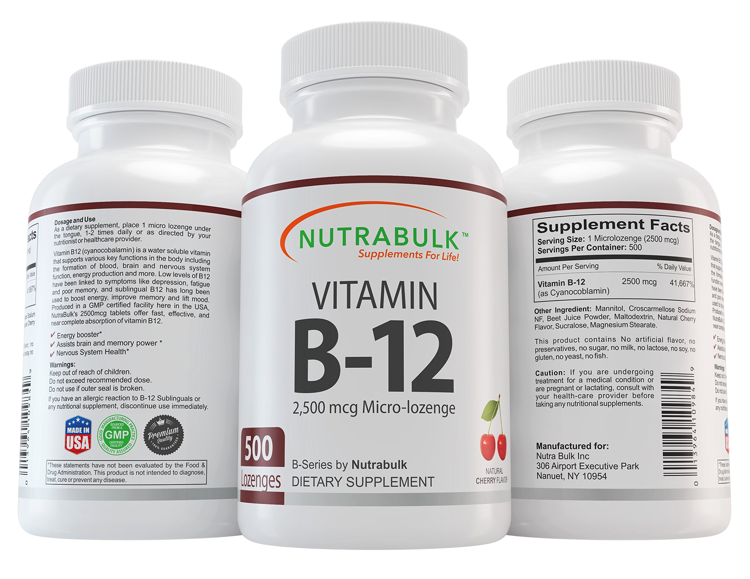 Vitamin B-12 NutraBulk Capsules - Supports Cognitive Health + Boosts Energy + Increases Overall Health - 100% Pharmaceutical Grade - 2500 mcg. Sublingual Tablets 500 Count …