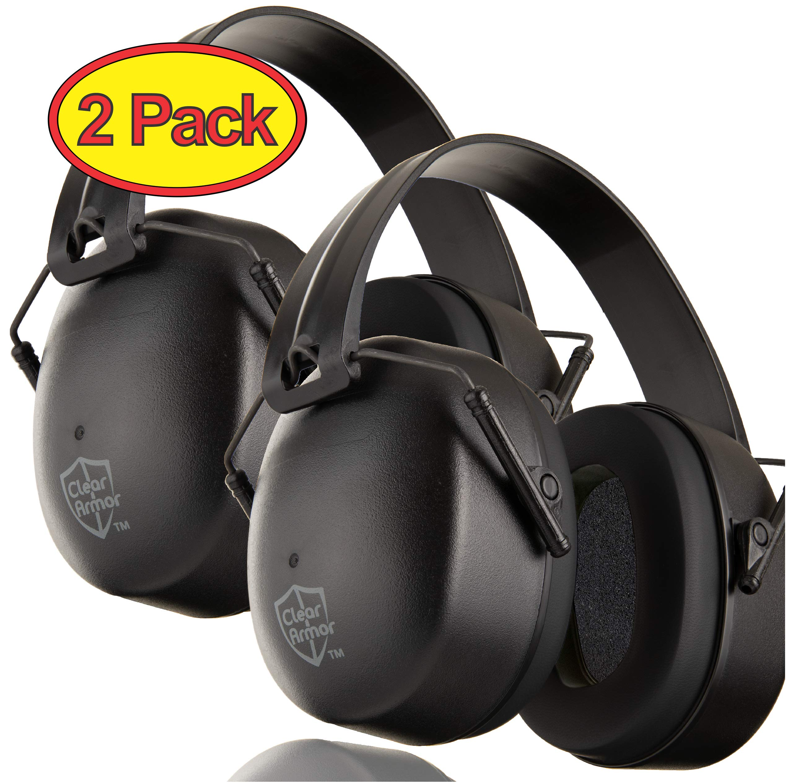 ClearArmor 2 Pack - Safety Shooting Ear Muffs Hearing Ear Protection - 31.5 dB SNR Noise Reduction - Comfortable Earmuffs That Work for Hunting, Gun Range, Mowing