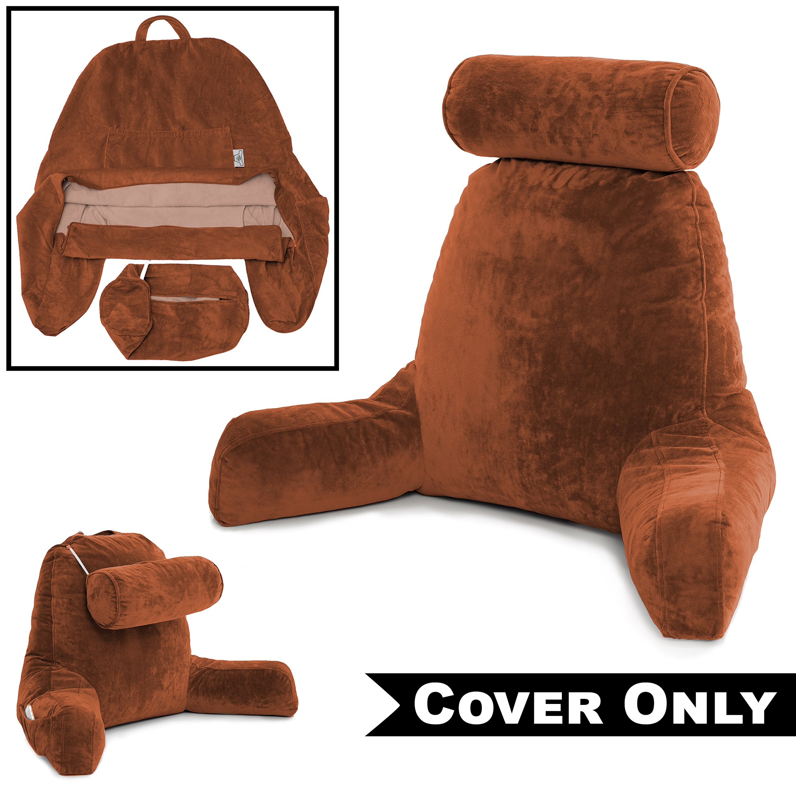 Husband Pillow Tan COVER ONLY - For the Bedrest Cover Set - Support Bed Backrest Cover, Microplush Cover Includes Detachable Neck Roll Pillow Cover