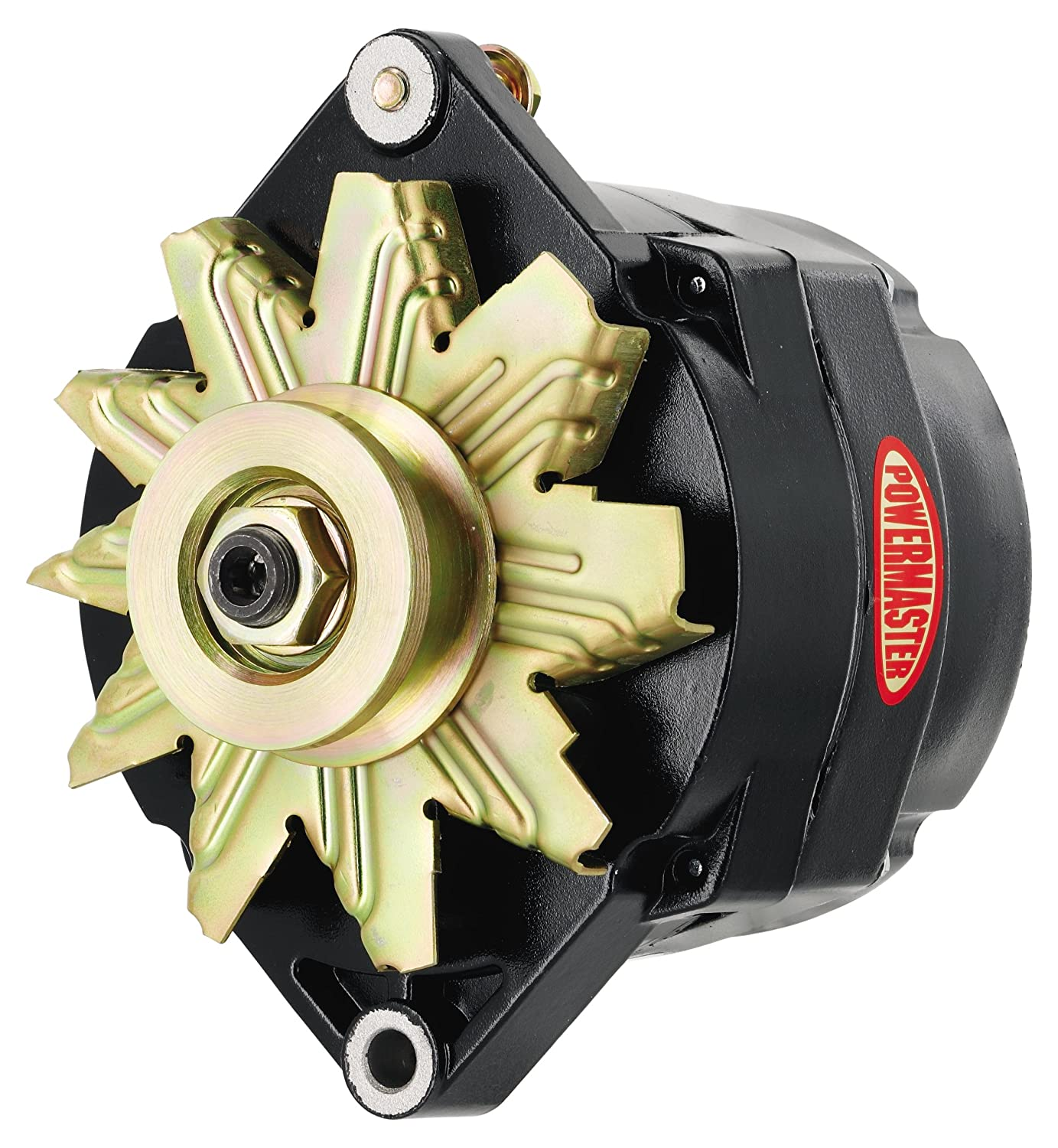 Powermaster Performance 8-56101 Black Alternator Upgrade 100A 1V Pulley 1 Wire Motorola Replacement 1 Mating flange